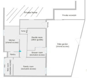Floor plan showing division of space if you book our Oyster Catcher Room