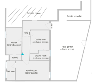 Floor plan showing division of space if you book our Curlew Room