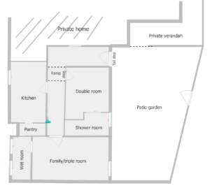 Floor plan showing division of space if you book the whole space