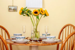 Dining table with sunflowers