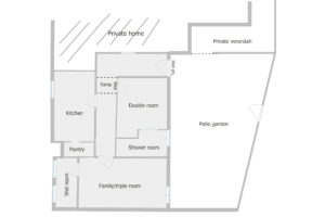 Floor plan showing layout - two bedrooms and a dining kitchen